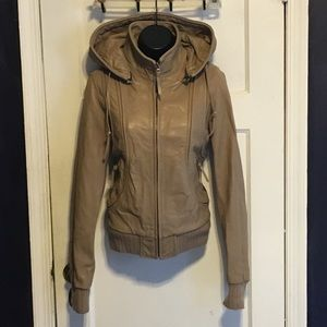 Aqua Tan Leather Hooded Bomber